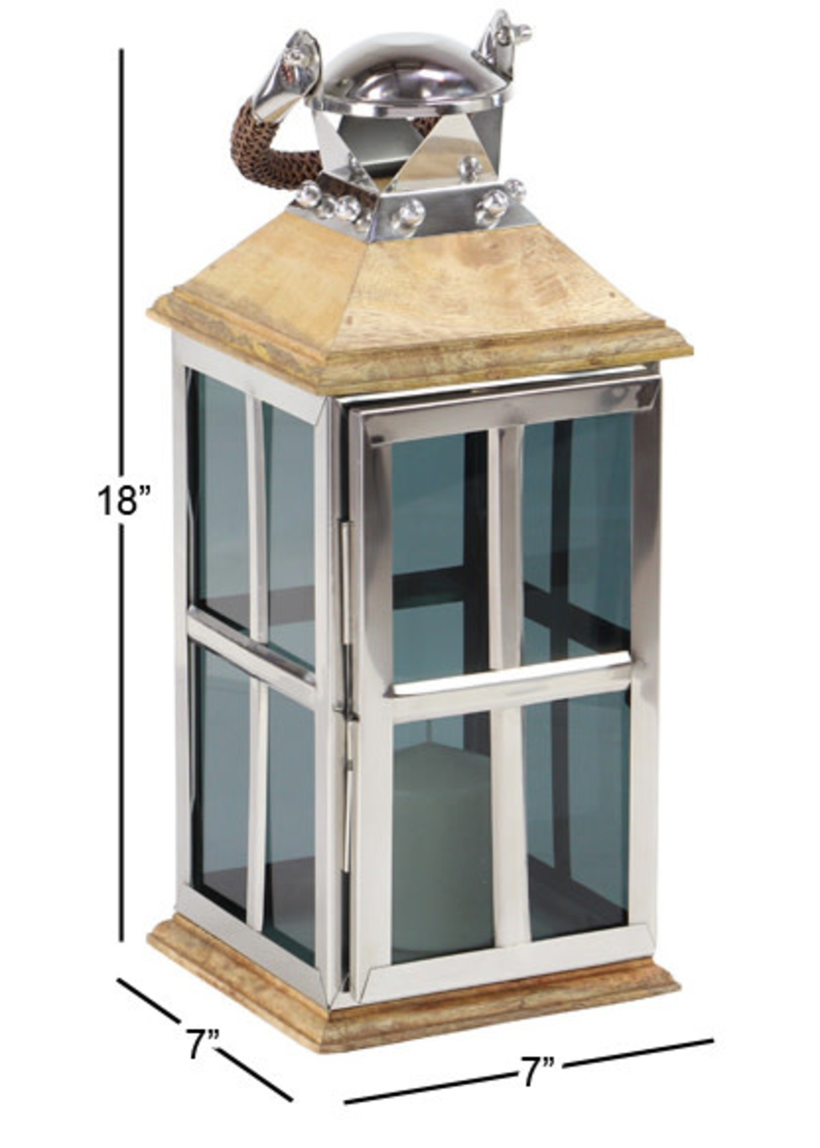 "UMA Enterprises UMA Wood Glass Lantern 18""H 7""W"