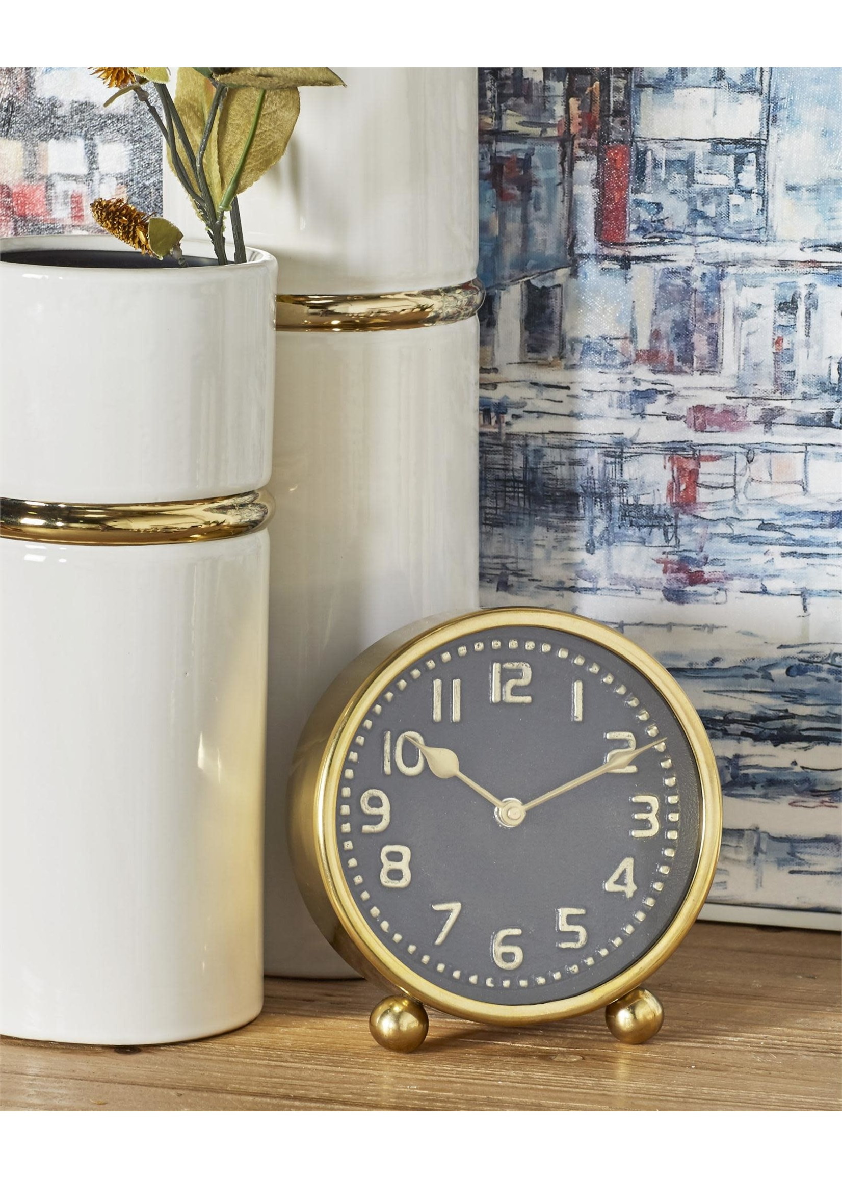 "UMA Enterprises UMA Metal Table Clock 5""W 6""H Gold or Silver"