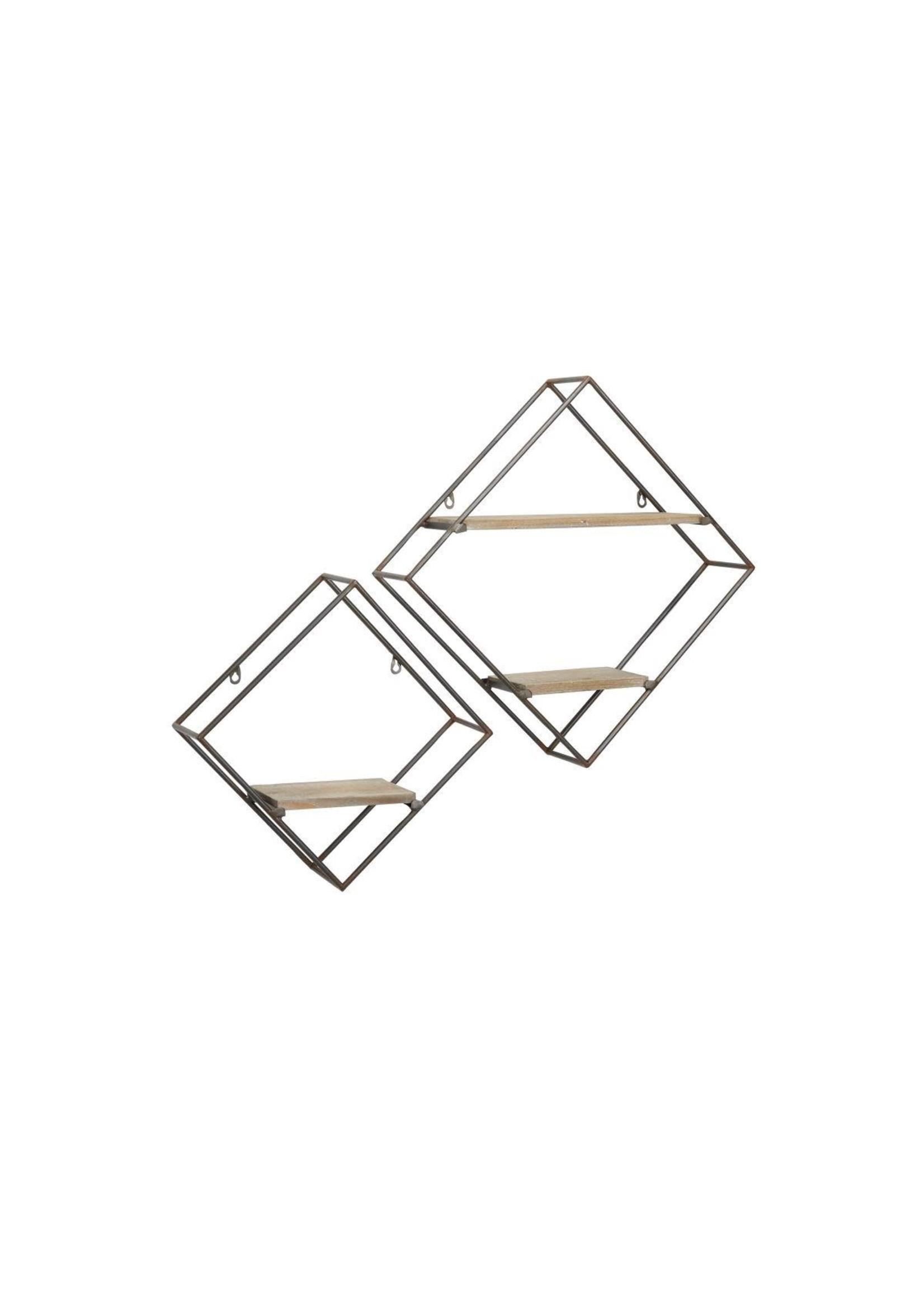 UMA Enterprises UMA Metal Wood Wall Shelf S/2