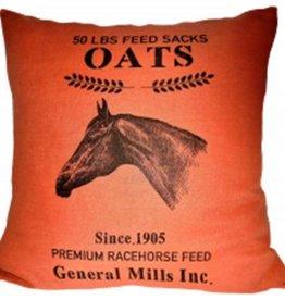 "Ox Bow Decor Ox Bow 50 LBS Feed Sack Oats Pillow 20"" x 20"""