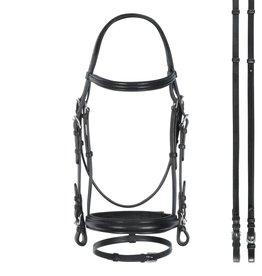 Bobby's English Tack Bobby's English Tack Plain Raised Padded Wide Snaffle Bridle w/Flash & Matching Reins