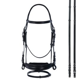 Bobby's English Tack Bobby's English Tack Plain Raised Padded Wide Crank Bridle w/Flash & Matching Reins