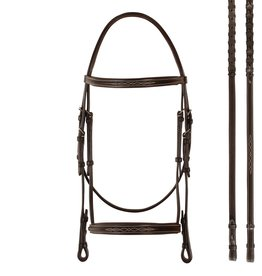 Bobby's English Tack Bobby's English Tack Fancy Raised Padded Snaffle Bridle & Matching Reins