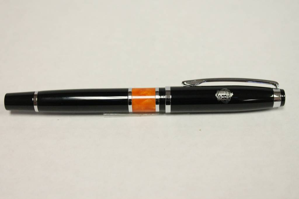 Valencia Pen - Black with Orange Marble