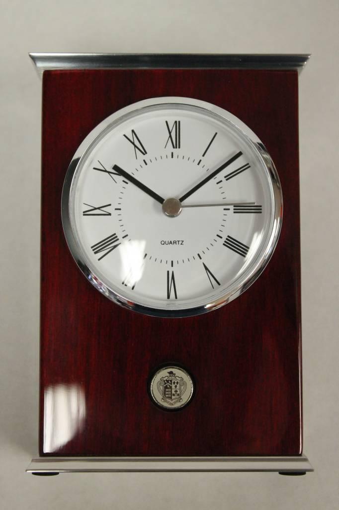 Rosewood/Metal Clock - Silver