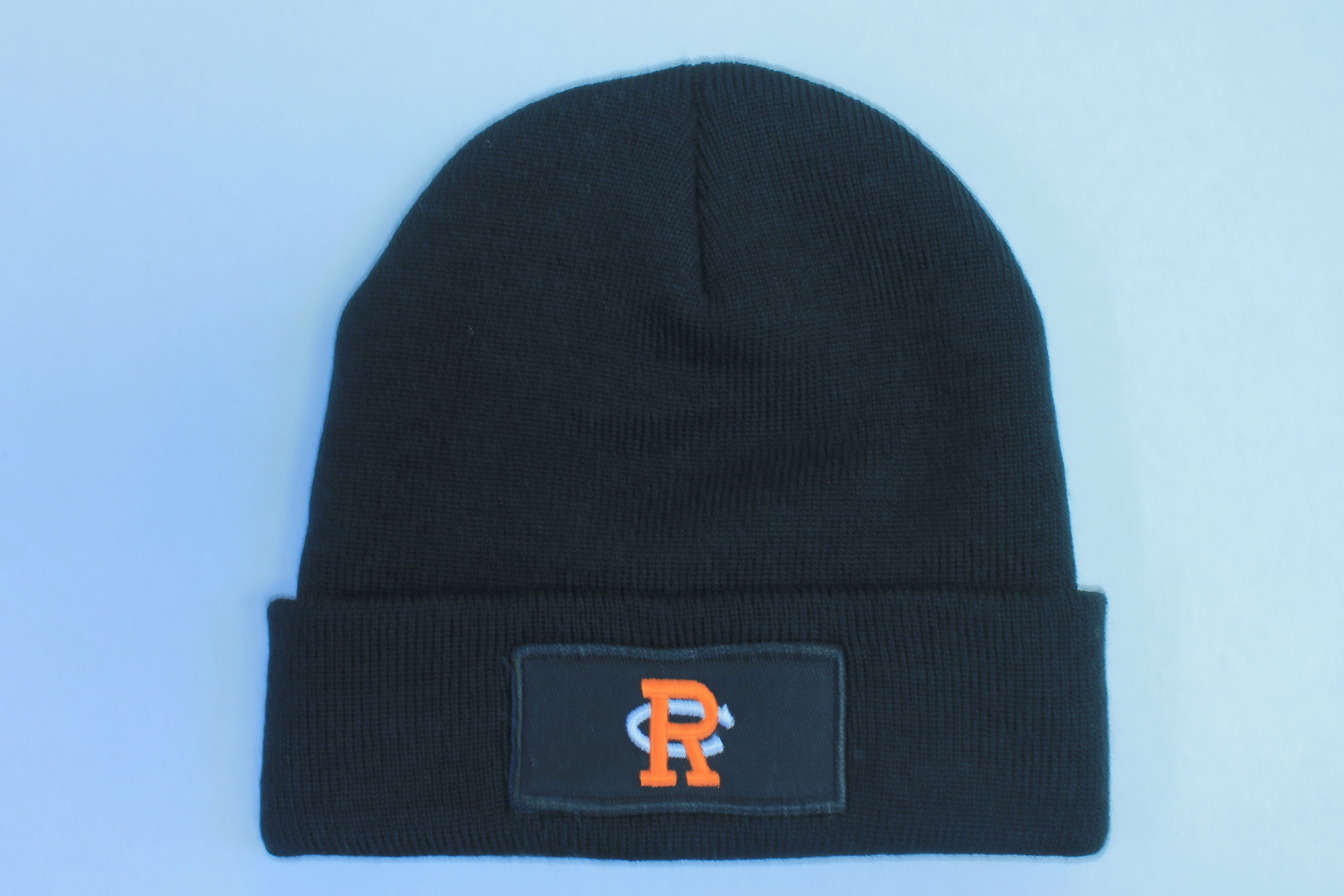 "Black Cuffed Knit Beanie ""RC"""
