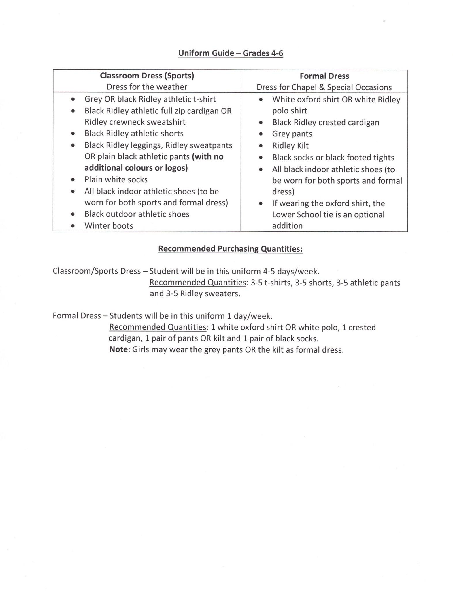 Uniform Guide (Gr. 4-6)