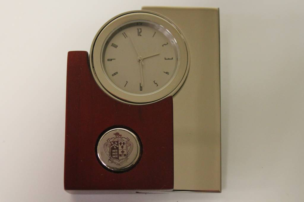 Rosewood and Silver Tower Clock (18E-S)