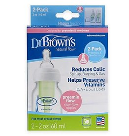 Dr Browns Dr Browns 60ml Narrow OPTIONS Bottle/Preemie Teat - 2 Pack  -  Replaces 057