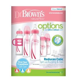 Dr Browns Dr Brown's Narrow Options Newborn Gift Set 5 Bottles PINK (with 2 Extra Teats and Caps)