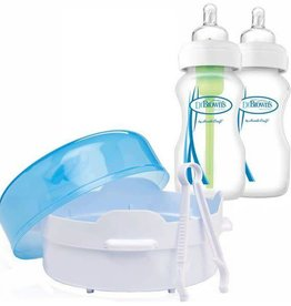 Dr Browns Dr Brown's Microwave Steam Sterilizer Set with 2 LOptions 270ml WN Bottles with Tongs