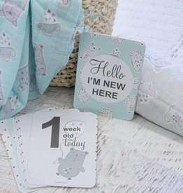 Bubba Blue Bubba Blue Beary Happy 2pk Muslin Wraps, with 18 milestones cards