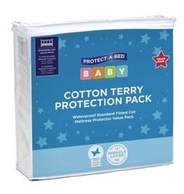 Protect-A-Bed Protect-A-Bed Terry Cotton Cot Mattress Protector Pack 130x68cm