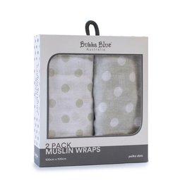 Bubba Blue Bubba Blue Polka Dots 2pk Muslin Wraps
