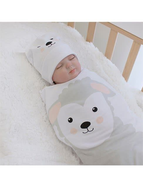 Bubba Blue Bubba Blue Sheep Swaddling and Beanie Set