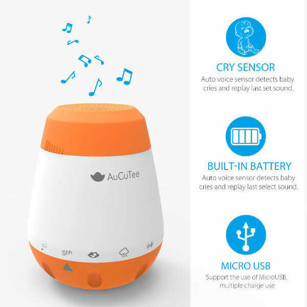 Fly Charlie AuCuTee K1 Portable White Noise Machine with USB Charger