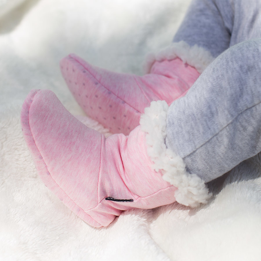 Bedhead Bedhead Fleecy Sleepy Booties - Baby Pink Marle