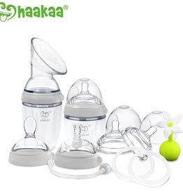 Haaka Haakaa Generation 3 Premium Silicone Breast Pump and Baby Bottle Pack