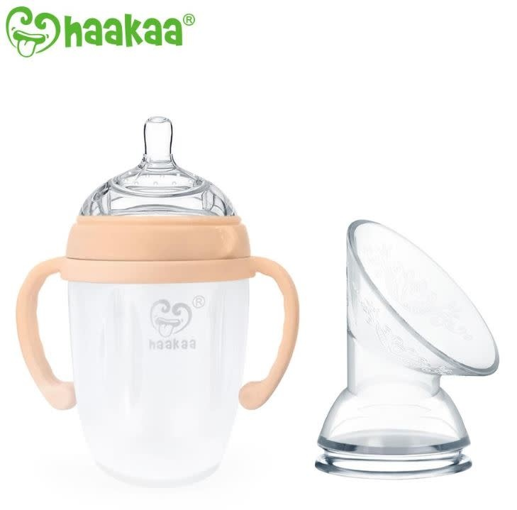 Haaka 250ml Generation 3 Baby Bottle with Pump Flange (Nude/Grey)
