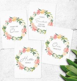 Joseph Prints Joseph Prints Floral Wreath Baby Milestone Cards