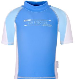 Sun Emporium Sun Emporium Baby Boys Rash Guard Multi Panel Short Sleeve Ocean Blue
