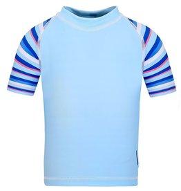 Sun Emporium Sun Emporium Boys Rash Guard Short Sleeve Sky Blue/Stripe