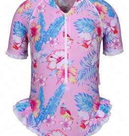 Sun Emporium Sun Emporium Baby Girls Frill Suit Short Sleeve Paradise Print