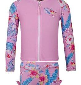 Sun Emporium Sun Emporium Girls Zip Swim Jacket Long Sleeve & Boyleg Set Paradise Print
