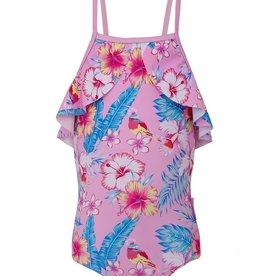 Sun Emporium Sun Emporium Girls Halter Swimsuit with Ruffles Paradise Print