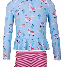 Sun Emporium Sun Emporium Girls Rash Guard Long Sleeve & Boyleg Set Bahama Llama  Print