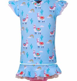 Sun Emporium Sun Emporium Baby Girls Rash Guard and Nappy Cover Set Bahama Llama  Print