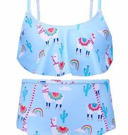 Sun Emporium Sun Emporium Baby Girls Two Piece with High Waist Pant Bahama Llama  Print