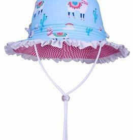 Sun Emporium Sun Emporium Girls Reversible Brim Hat with Frills Bahama Llama  Print
