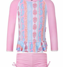 Sun Emporium Sun Emporium Girls Rash Guard Long Sleeve & Boyleg Set Arabella Print