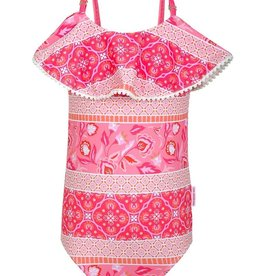 Sun Emporium Sun Emporium Girls One-Piece Swimsuit with Pom Poms on Ruffle Trim Indian Summer Print