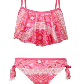 Sun Emporium Sun Emporium Girls Swing Top Bikini Set with Tassels Indian Summer Print