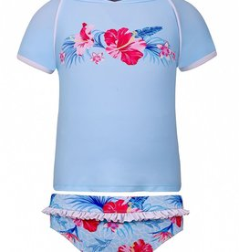 Sun Emporium Sun Emporium Girls Rash Guard and Bikini Set Halcyon Days Print