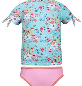 Sun Emporium Sun Emporium Girls Rash Guard and Bikini Set Vintage Meadow Print