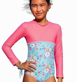 Sun Emporium Sun Emporium Girls Swimsuit Long Sleeve Vintage Meadow Print