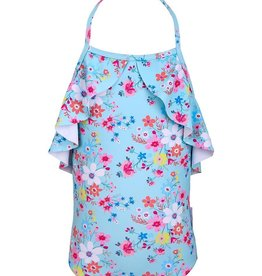 Sun Emporium Sun Emporium Girls One-Piece Swimsuit with Ruffle Trim Vintage Meadow Print