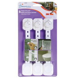 Dreambaby Dreambaby Twist 'N Lock Multi-Purpose Latch 6 Pack