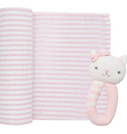 Living Textiles Living Textiles Muslin Swaddle & Rattle Gift Set