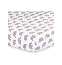 Little Haven Little Haven Grey Elephant Cot Fitted Sheet