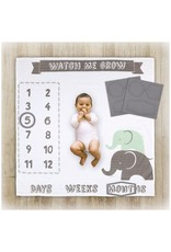 Little Haven Little Haven Muslin Milestone Blanket-Grey Elephant