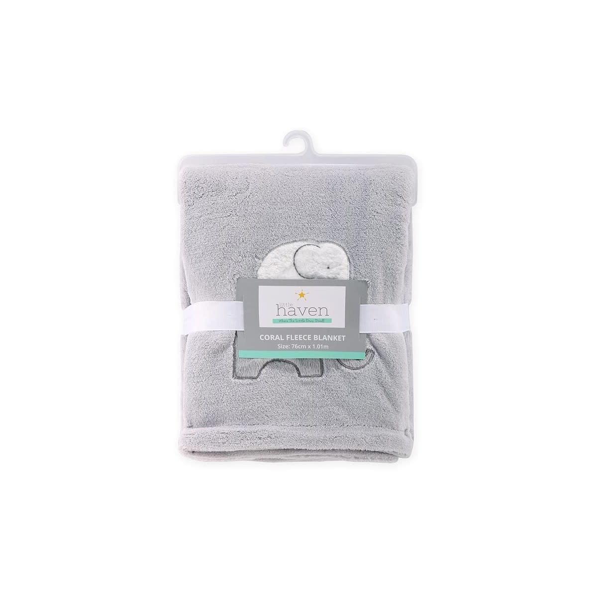 Little Haven Little Haven Coral Fleece Blanket w/Applique-Grey