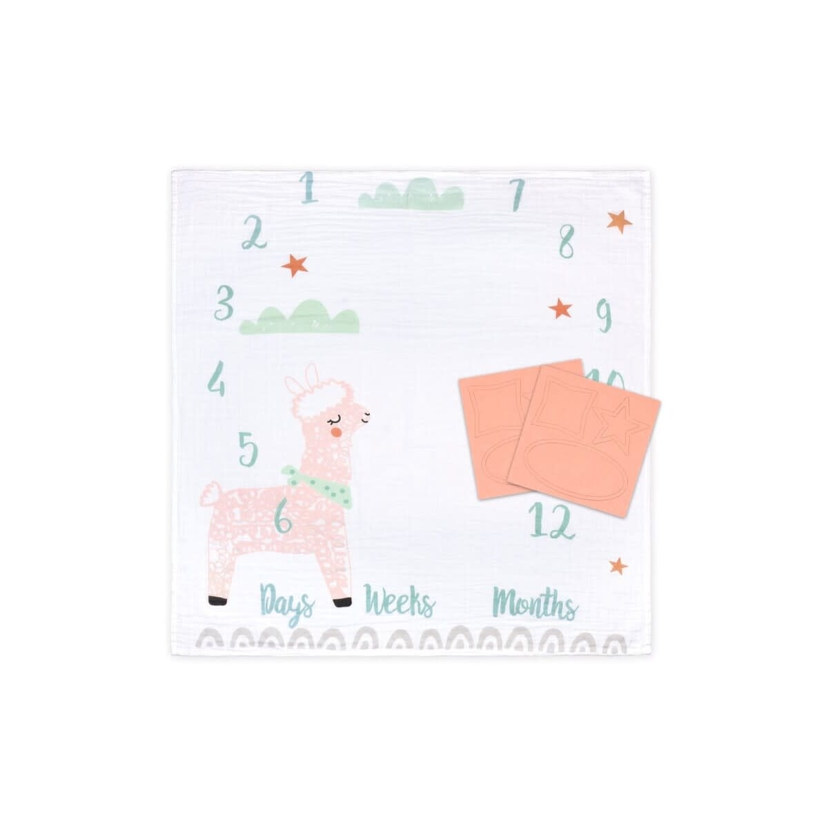 Little Haven Little Haven Muslin Milestone Blanket-Llama