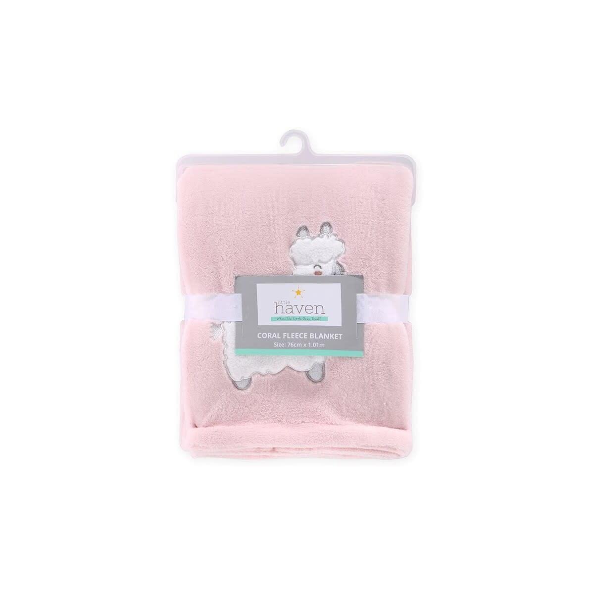 Little Haven Little Haven Coral Fleece Blanket w/Applique-Blush Llama