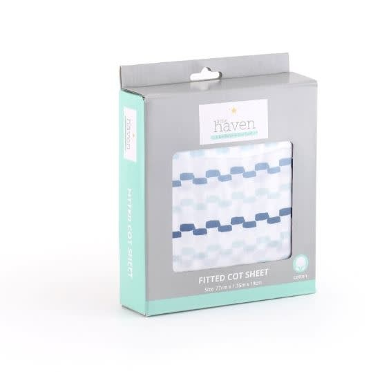 Little Haven Little Haven Cot Fitted Sheet-Blue/Black Squiggle