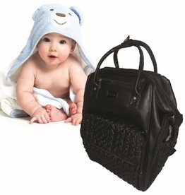 La Tasche La Tasche Elegance - Black faux leather/fabric