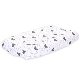 The Peanut Shell Disney Mod Mickey Quilted Grey Print Changing Pad Cover